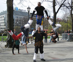 Human pyramid from street performance in Oslo, Norway.